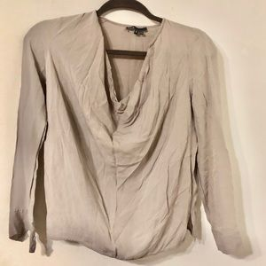 VINCE Ruched Neck Silk Blouse Size 2